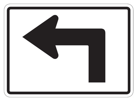 dissuade: Left turn arrow auxiliary Sign isolated on a white background