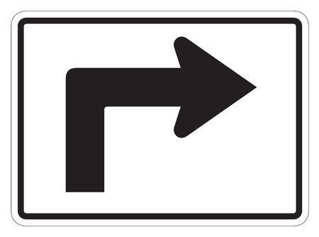 dissuade: Right turn arrow auxiliary Sign isolated on a white background