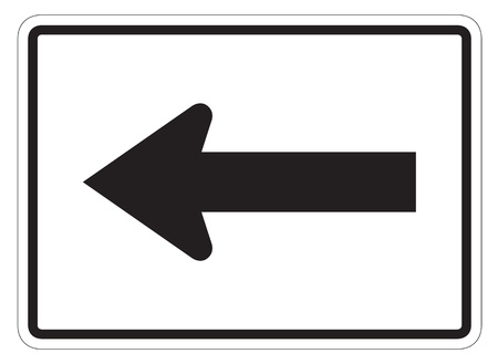 dissuade: Left arrow auxiliary Sign isolated on a white background