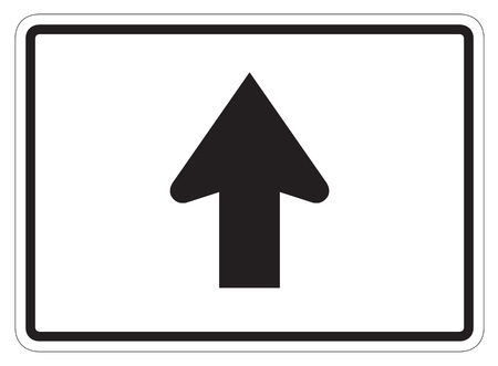 dissuade: Straight Arrow Auxiliary Sign isolated on a white background Stock Photo