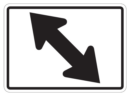 directional arrow: LeftRight diagonal directional arrow auxiliary sign isolated on a white background