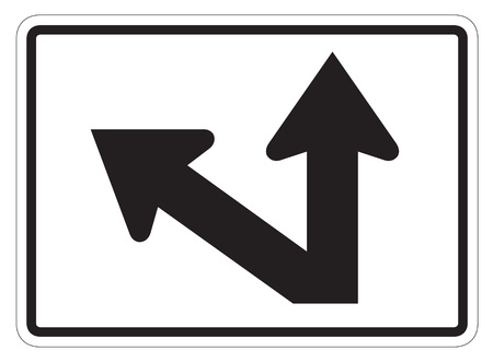 forewarning: StraightDiagonal Left Auxiliary Sign isolated on a white background