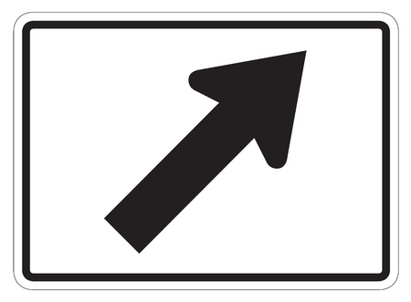 dissuade: Diagonal Arrow Auxiliary Sign isolated on a white background