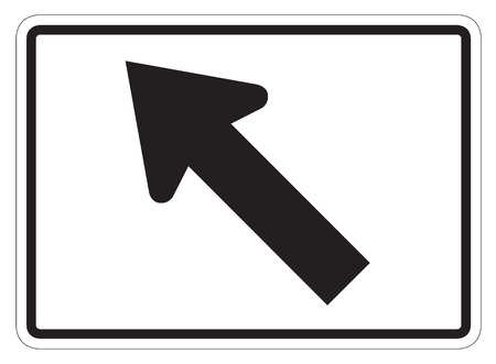 forewarning: Diagonal Arrow Auxiliary Sign isolated on a white background