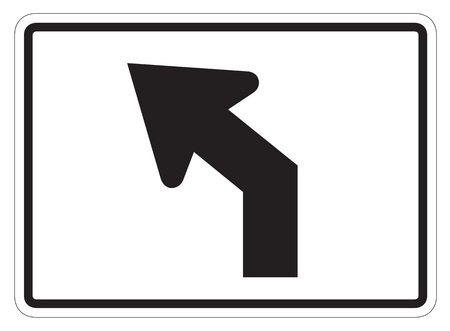 dissuade: Diagonal left turn arrow auxiliary Sign isolated on a white background