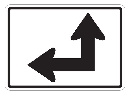 directional arrow: Leftstraight directional arrow auxiliary sign isolated on a white background