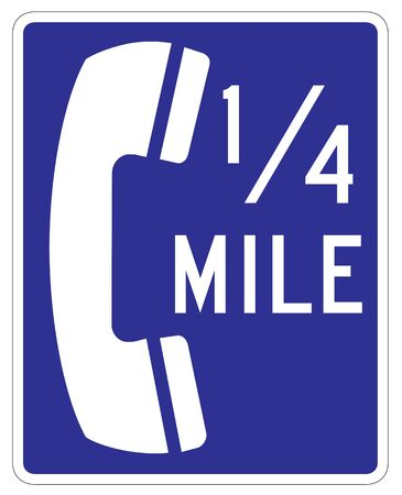 mile: blue telephone sign on white