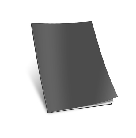 void: Blank magazine template on white background with soft shadows.