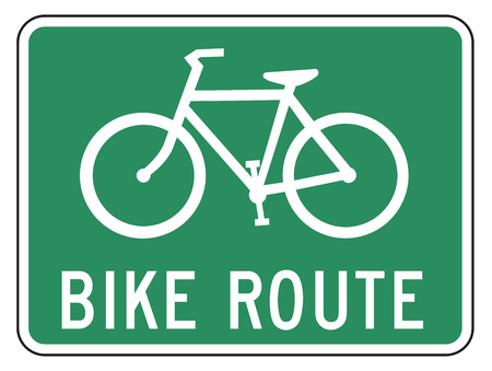 designated: Bicycle Route Guide sign on white
