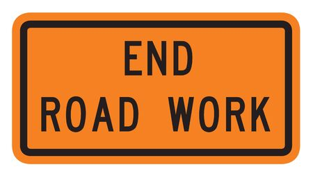 end of road: US traffic warning sign: End road work.