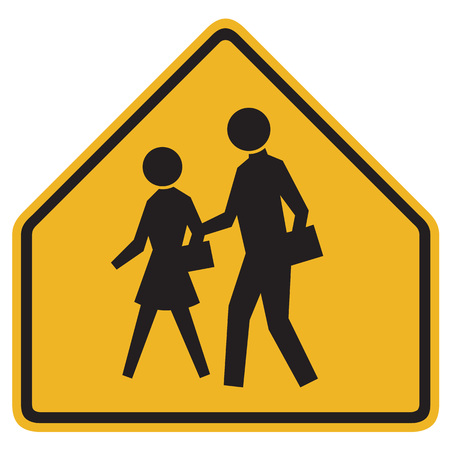 on the lookout: School Warning Sign - Yellow road sign with black silhouettes of people Stock Photo