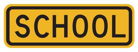 senda peatonal: Escuela de la se�al de peligro del paso de peatones