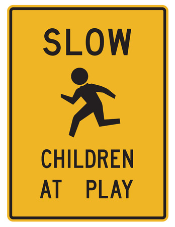 road sign - slow children at play Stock fotó