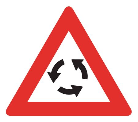 roundabout: UK Roundabout Ahead Sign