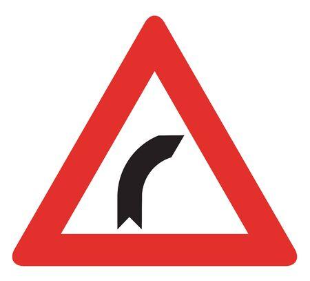 slow lane: Bend to right warning traffic signs.