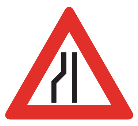 narrows: Road sign used in Slovakia - Road narrows from the left.