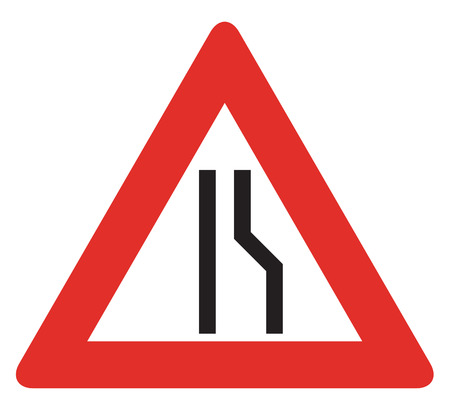 narrows: Road sign used in Slovakia - Road narrows from the right. Stock Photo