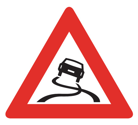 skidding: Road sign used in Slovakia - Risk of skidding. Stock Photo