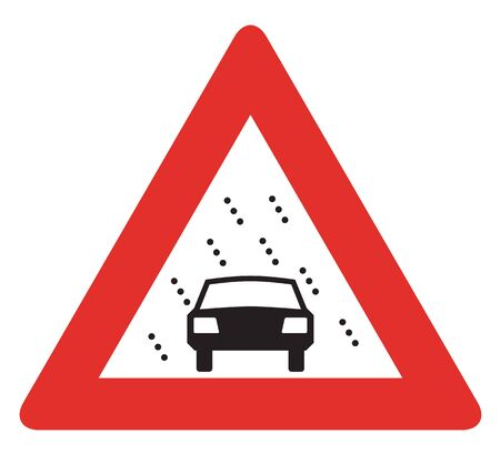 reduced: Netherlands road sign J35 - Reduced visibility because of snow, rain or fog. Stock Photo