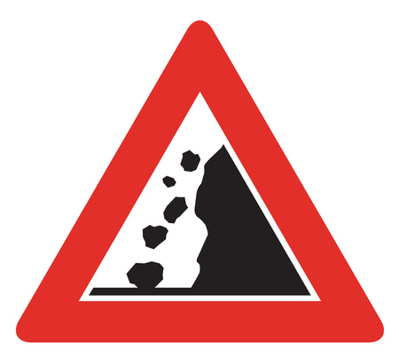 red handed: Czech sign warning about falling rocks from the right.