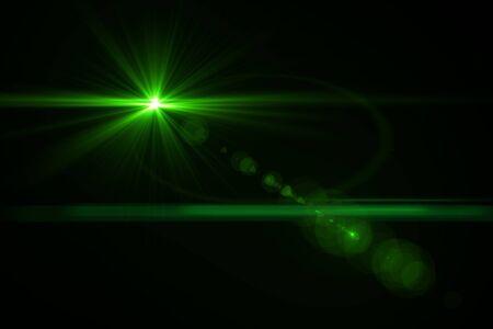 light green: digital lens flare in black bacground horizontal frame Stock Photo