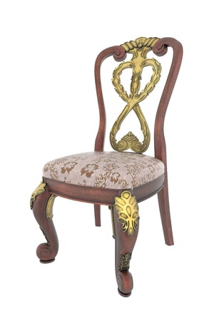 antique chair: carved antique arm chair with clipping path on white background