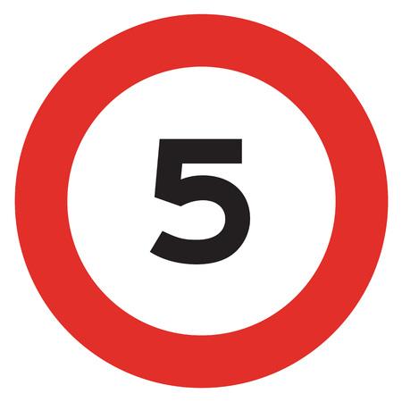 5 speed limitation road sign on white background Stock Photo - 55266009