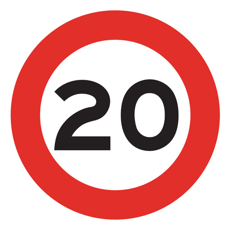 km: 20 speed limitation road sign on white background Stock Photo