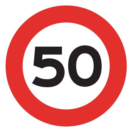 traffic violation: 50 speed limitation road sign on white background