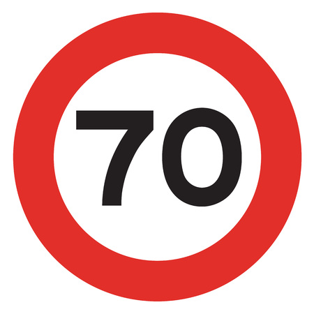traffic violation: 70 speed limitation road sign on white background Stock Photo