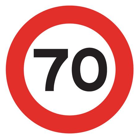 traffic violation: 70 speed limitation road sign on white background Stock Photo