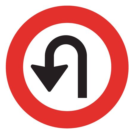 reversal: U-Turn road sign. icon great for any use.