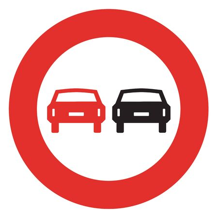 overtaking: Road sign. Prohibitory sign. No overtaking.