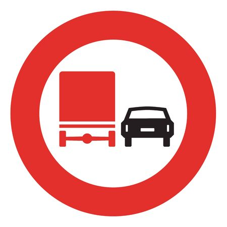 overtaking: Road sign. Prohibitory sign. No overtaking by heavy goods vehicles. Stock Photo