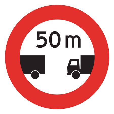 the distance: Road sign used in Switzerland - Minimum distance. Stock Photo