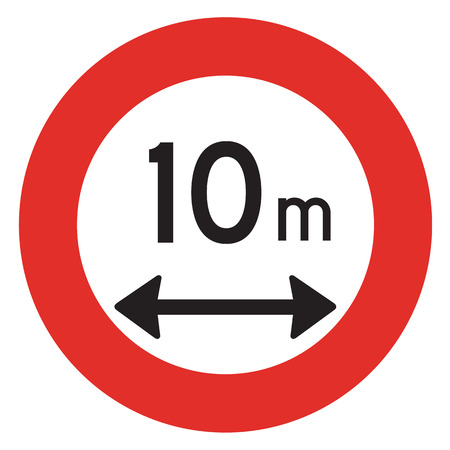 prohibition: A Dutch prohibition sign - Length limit. Stock Photo