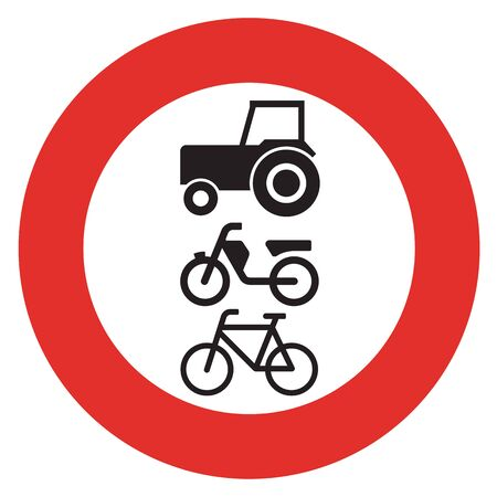 mopeds: A Dutch prohibition sign - No slow vehicles. Stock Photo