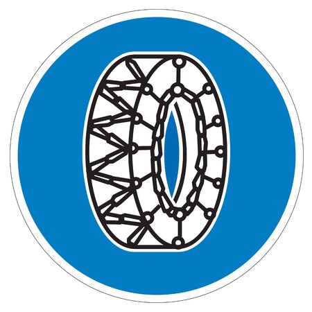 traffic sign snow chains Stock Photo