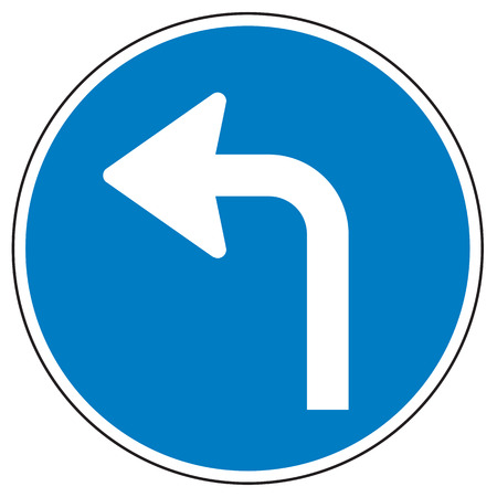 turn left: Turn left ahead sign on white background Stock Photo