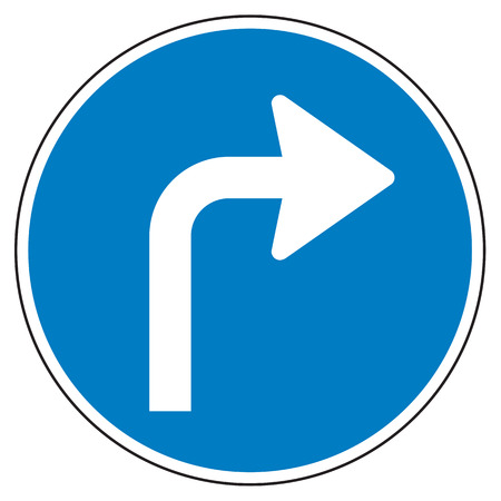 Turn right ahead sign on white background