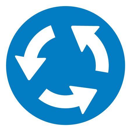cruce de caminos: Rotonda cruce se�al de tr�fico en blanco.