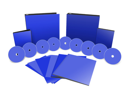 cd case: 3d illustration stationery set blank 3D objects template isolated on white. Stock Photo