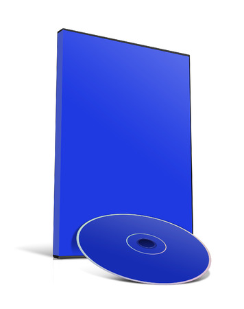 dvd case: 3d illustration Blank DVD case and disc isolated on white background