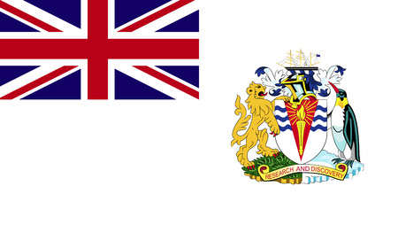 dependent: Sovereign state flag of dependent country of British Antarctic Territory in official colors. Stock Photo