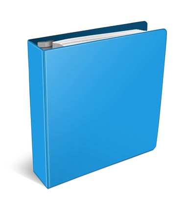 3d illustration blue binder isolated on white background