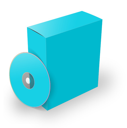 writable: 3d illustration blank box and cd or dvd disk Stock Photo