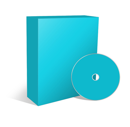 dvd box: 3d illustration blank box and cd or dvd disk Stock Photo