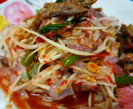 Green papaya salad Thai cuisine spicy delicious :  SOM TAM  Thai speak Stock fotó
