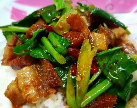 Crispy Pork with Kale ,Stir fried kale with crispy pork