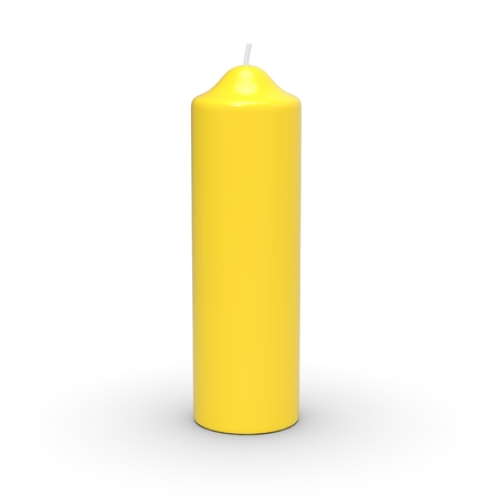 Extinguished yellow candle isolated on white background, 3d render Stock fotó